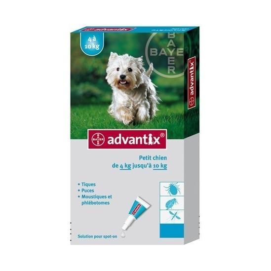 Bayer Advantix pour petit chien de 4 à 10kg+ 4 pipettes